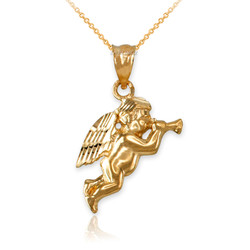 Polished Yellow Gold Trumpeting Angel DC Charm Necklace