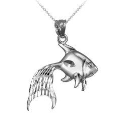 Polished DC White Gold Goldfish Pendant Necklace