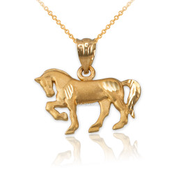 Satin DC Yellow Gold Horse Charm Necklace