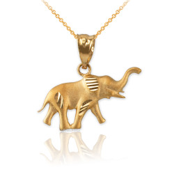 Satin DC Yellow Gold Elephant Charm Necklace
