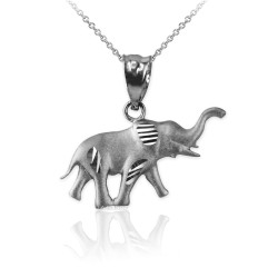 Satin DC White Gold Elephant Charm Necklace