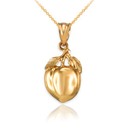 Polished DC Yellow Gold Peach Fruit Charm Necklace