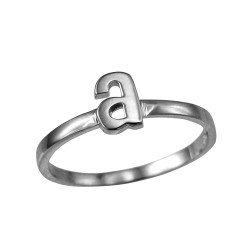 Sterling Silver Initial Letter A Stackable Ring