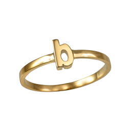 Polished Yellow Gold Initial Letter B Stackable Ring