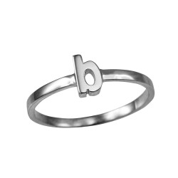 Polished White Gold Initial Letter B Stackable Ring