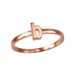 Polished Rose Gold Initial Letter B Stackable Ring