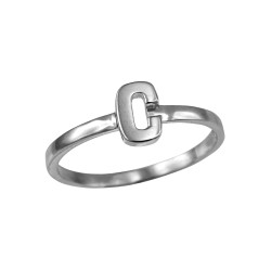 Polished White Gold Initial Letter C Stackable Ring