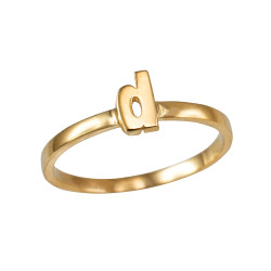 Polished Yellow Gold Initial Letter D Stackable Ring
