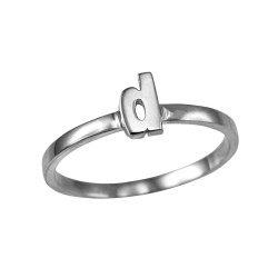 Polished White Gold Initial Letter D Stackable Ring