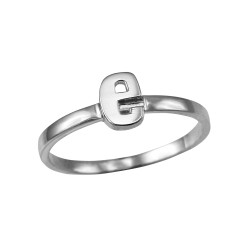 Polished White Gold Initial Letter E Stackable Ring
