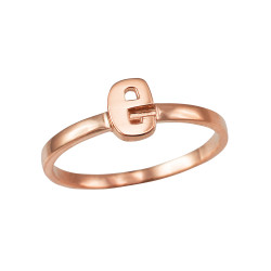 Polished Rose Gold Initial Letter E Stackable Ring
