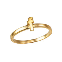 Polished Yellow Gold Initial Letter F Stackable Ring