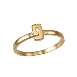 Polished Yellow Gold Initial Letter G Stackable Ring