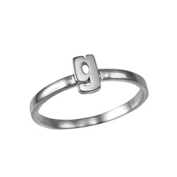 Sterling Silver Initial Letter G Stackable Ring