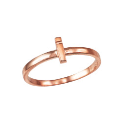 Polished Rose Gold Initial Letter I Stackable Ring
