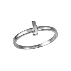 Polished White Gold Initial Letter J Stackable Ring