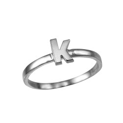 Polished White Gold Initial Letter K Stackable Ring