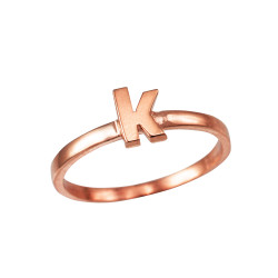 Polished Rose Gold Initial Letter K Stackable Ring