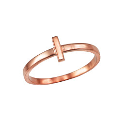 Polished Rose Gold Initial Letter L Stackable Ring