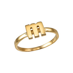 Polished Yellow Gold Initial Letter M Stackable Ring