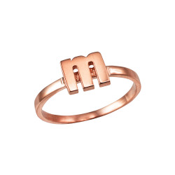 Polished Rose Gold Initial Letter M Stackable Ring