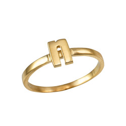 Polished Yellow Gold Initial Letter N Stackable Ring