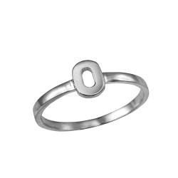 Polished White Gold Initial Letter O Stackable Ring