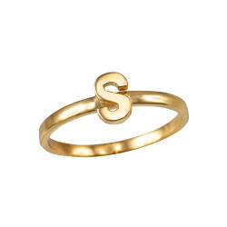 Polished Yellow Gold Initial Letter S Stackable Ring