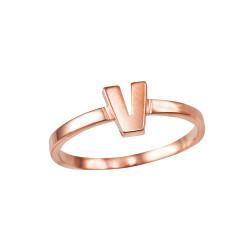 Polished Rose Gold Initial Letter V Stackable Ring