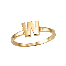 Polished Yellow Gold Initial Letter W Stackable Ring