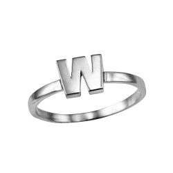 Polished White Gold Initial Letter W Stackable Ring
