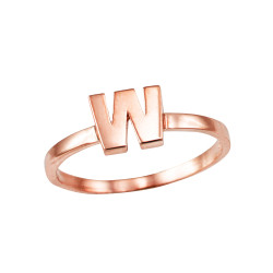 Polished Rose Gold Initial Letter W Stackable Ring
