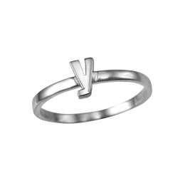 Sterling Silver Initial Letter Y Stackable Ring