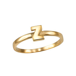 Polished Yellow Gold Initial Letter Z Stackable Ring