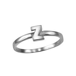 Polished White Gold Initial Letter Z Stackable Ring