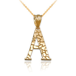 "Yellow Gold Nugget Initial Letter ""A"" Pendant Necklace"