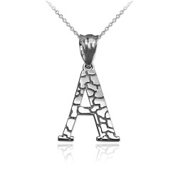 "White Gold Nugget Initial Letter ""A"" Pendant Necklace"
