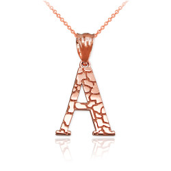 "Rose Gold Nugget Initial Letter ""A"" Pendant Necklace"