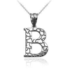 """White Gold Nugget Initial Letter """"B"""" Pendant Necklace"""
