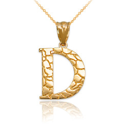 "Yellow Gold Nugget Initial Letter ""D"" Pendant Necklace"