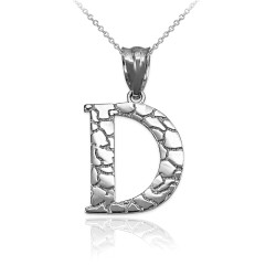 "White Gold Nugget Initial Letter ""D"" Pendant Necklace"