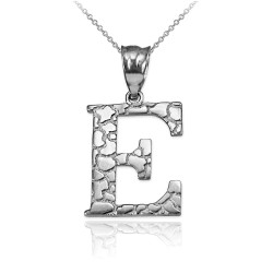 "White Gold Nugget Initial Letter ""E"" Pendant Necklace"