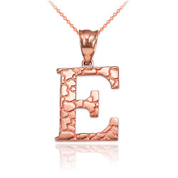"Rose Gold Nugget Initial Letter ""E"" Pendant Necklace"