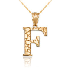 """Yellow Gold Nugget Initial Letter """"F"""" Pendant Necklace"""
