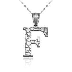"White Gold Nugget Initial Letter ""F"" Pendant Necklace"