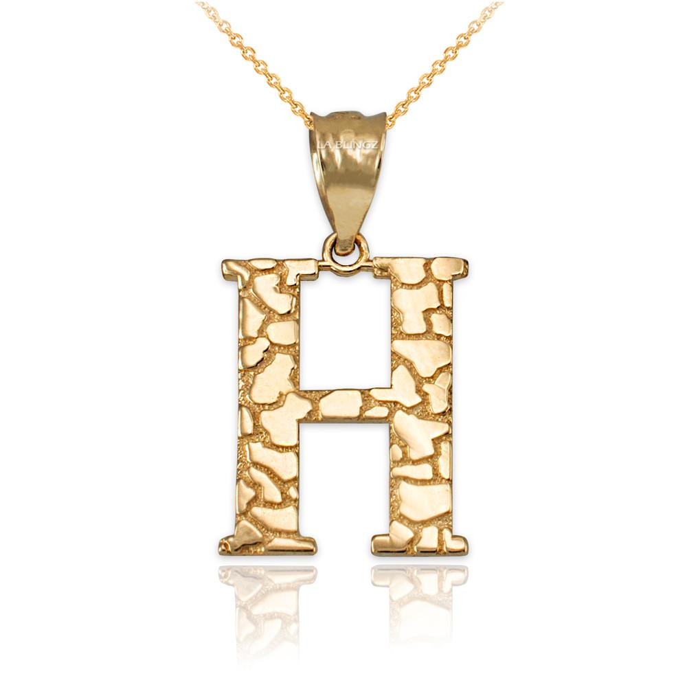 LA BLINGZ 10K Yellow Gold Nugget Initial Letter G Pendant