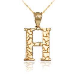 "Yellow Gold Nugget Initial Letter ""H"" Pendant Necklace"