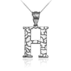 """White Gold Nugget Initial Letter """"H"""" Pendant Necklace"""