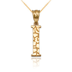 "Yellow Gold Nugget Initial Letter ""I"" Pendant Necklace"