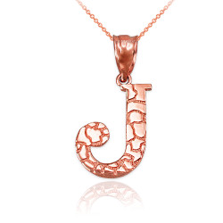 "Rose Gold Nugget Initial Letter ""J"" Pendant Necklace"